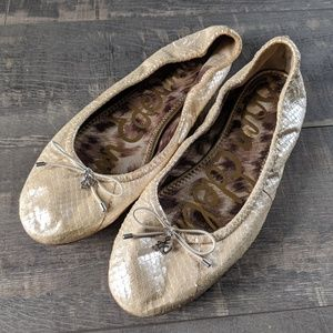 Sam Edelman Felicia Ivory Ballet Snakeskin Flats